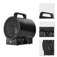 3KW INDUSTRIAL FAN HEATER ELECTRIC WORKSHOP GARAGE SHED SPACE ROUND BLACK
